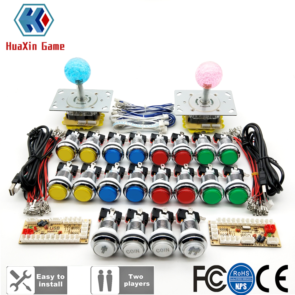 DIY Arcade Kit 5V LED Joystick Chrome Plated Push Button1 & 2 Player COIN Button USB Zero Delay To PC Raspberry Pi Game Cabinet