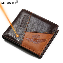 GUBINTU Genuine Leather Men Wallets Coin Pocket Zipper Real