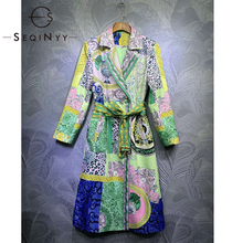 Outwear Trench-Coat Runway Flowers-Print Vintage Autumn Yellow Design Green Long Winter