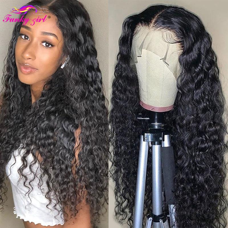 Parrucche brasiliane per capelli umani parrucche in pizzo trasparente HD parrucca per capelli in pizzo ad onda bagnata e ondulata parrucca profonda con chiusura in pizzo 4x4 capelli Remy