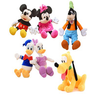 6pcs/lot Classic Plush Mickey Mouse Minnie Mouse Donald Duck Daisy Goofy Dog Pluto Dog Plush Toys Birthday Xmas Gifts For Kids