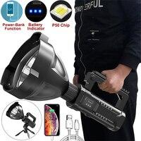 Reflector de alta potencia P70, linterna LED portátil para exteriores, iluminación multifunción, lámpara recargable impermeable de largo alcance