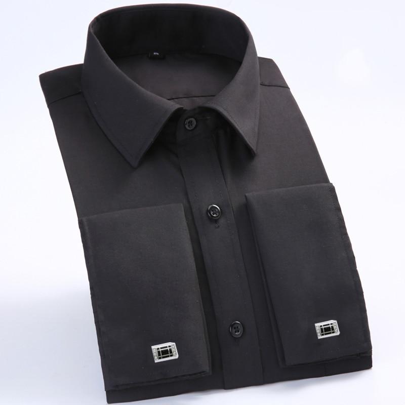 Men's Dress Shirts Loose French Cuff Regular fit Luxury Striped Business Long Sleeve Cufflinks Social Pluse Size Men Shirt 6XL 16