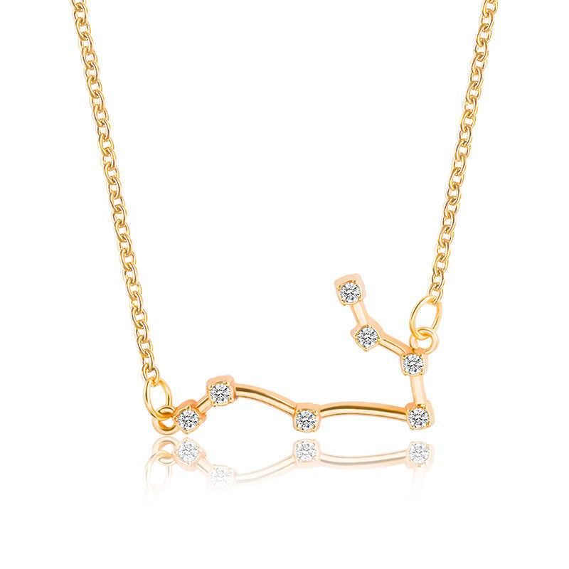 זהב צבע כוכב מזלות שרשראות & תליוני קולר שרשראות לנשים ארוך שרשרת שרשרת Bijoux Femme