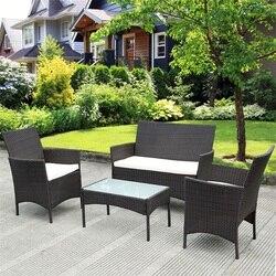 4 sztuk patio na świeżym powietrzu wodoodporna Rattan wiklina solidna stalowa rama amortyzowany Sofa stół wygodne zdejmowane poduszki HW52188      -