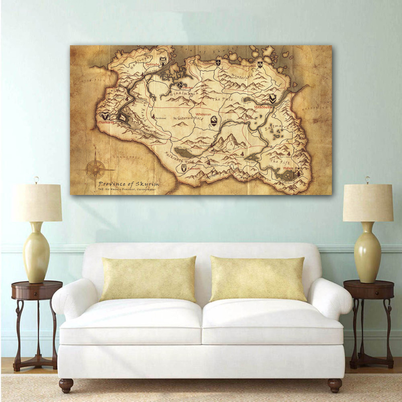 Elder scrolls quote Gamer Gaming Map of skyrim wall art poster print