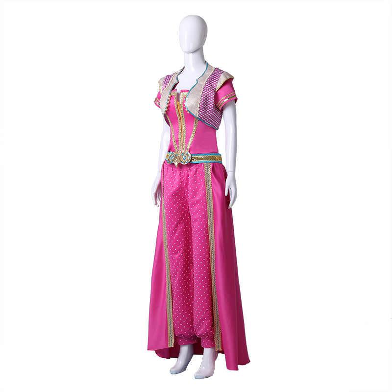 הסרט אלאדין נסיכת יסמין Cosplay תלבושות עבור נשים בנות ליל כל הקדושים תלבושת הכתרת תלבושות מפואר נצנצים ארוך שמלת חליפה