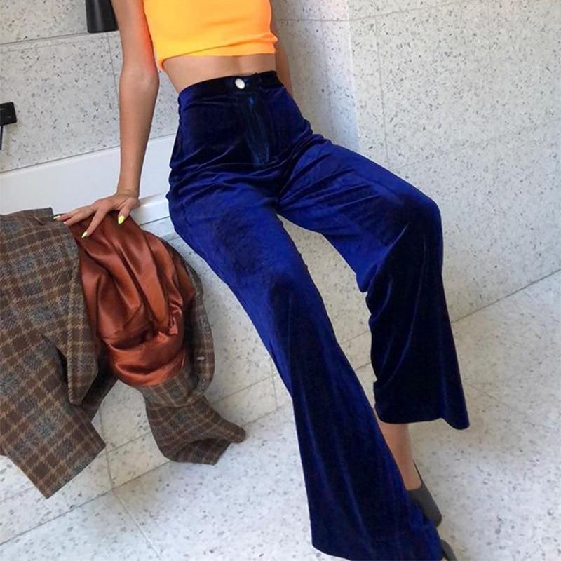Casual Loose Autumn Velour   Wide     Leg     Pants   Straight Solid Trousers Women Baggy High Waist   Pants   Harajuku Capri Bottom