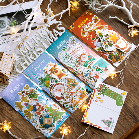10 pacotes lote manual album diario diy quatro design feliz natal adesivo decorativo ano novo