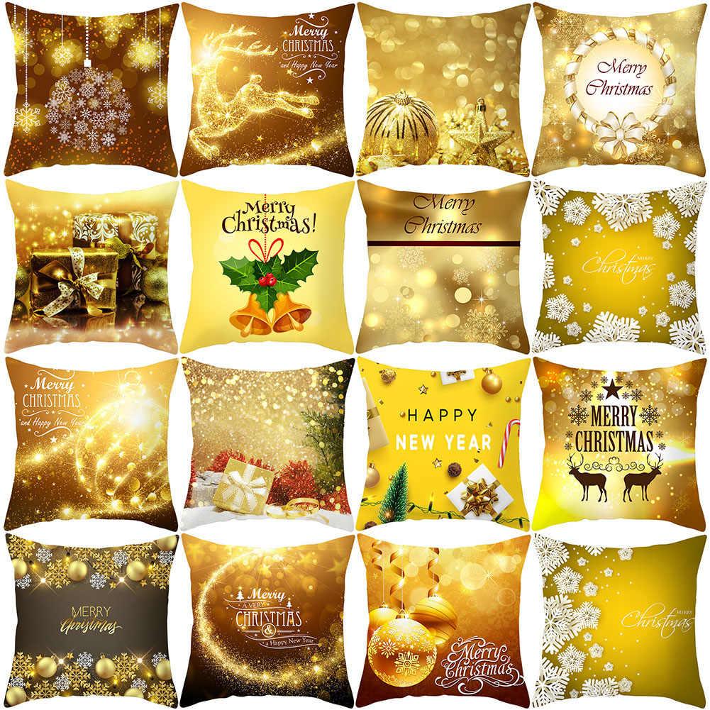 45*45 سنتيمتر عيد ميلاد سعيد كيس وسادة سعيد السنة الجديدة القوس جرس الزخرفية المخدة البوليستر وسادة غطاء مستلزمات أعياد الميلاد