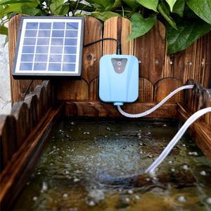 Bomba de aire para acuario con energía Solar/CC, compresor de aire para oxígeno, 2L aireador de flujo de aire/min