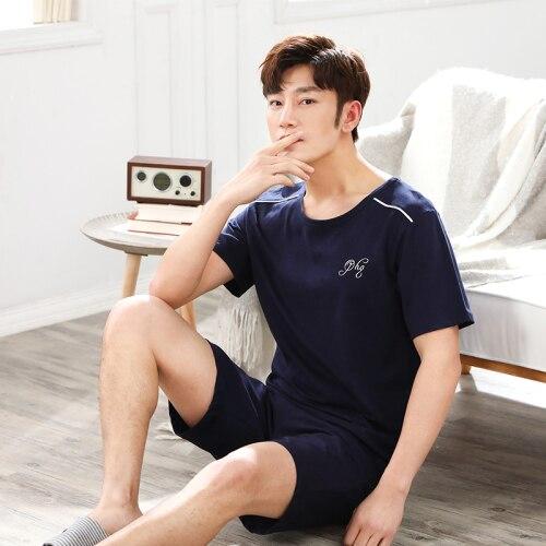 Pyjamas Men Cotton Blue Summer Pajama Sets Men's Loungewear Pijama Hombre Pajamas Sleepwear Nightwear Male Plus Size Homewear