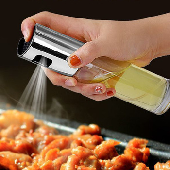 Kitchen Stainless Steel Olive Oil Sprayer Bottle Pump Oil Pot Leak-proof Grill BBQ Sprayer Oil Dispenser BBQ Cookware Tools image