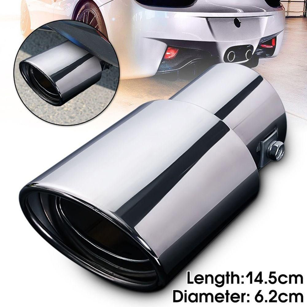 Universal Car Rear Round Exhaust Pipe Tail Muffler Tip Chrome Stainless Steel Automobile Muffler Tip Replacement Car Acce|Mufflers| |  - title=