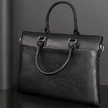 TIANSE Mens Briefcase Bag Mens Genuine Leather Laptop Bag Business Tote For Document Office Portable Laptop Shoulder Bag