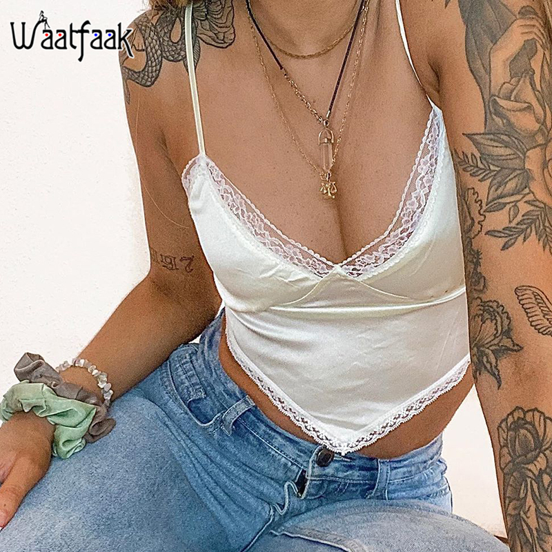 Waatfaak Lace Patchwork Satin White Crop Top Women V Neck Cami Ladies Backless Bustier Sexy Top