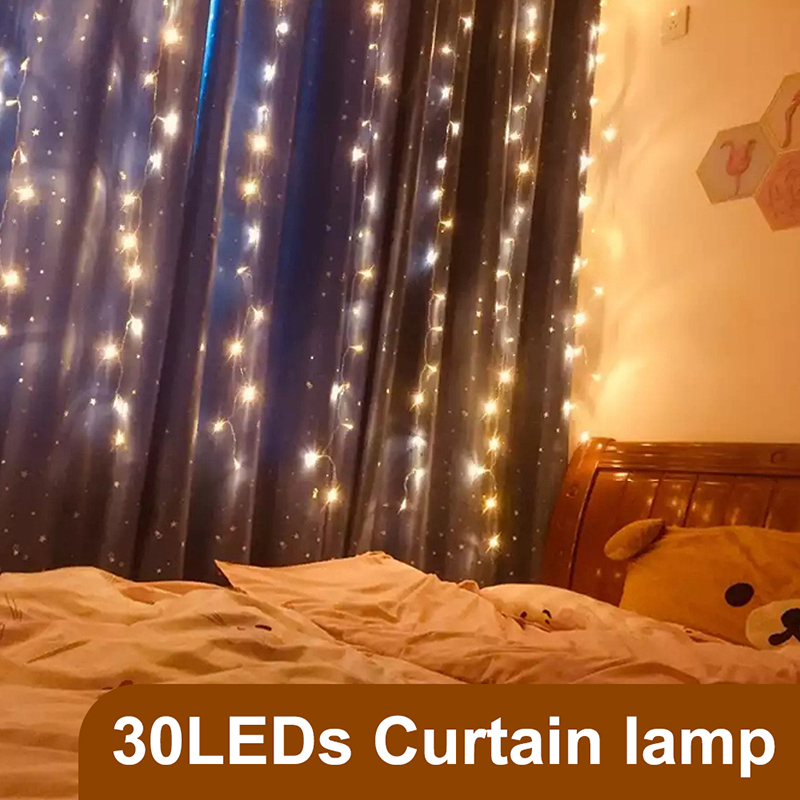 LEADLY 3x3m LED Curtain String Lights Strip Christmas Outdoor Home LED Curtain Light For Wedding Party Curtain Garden Room Decor