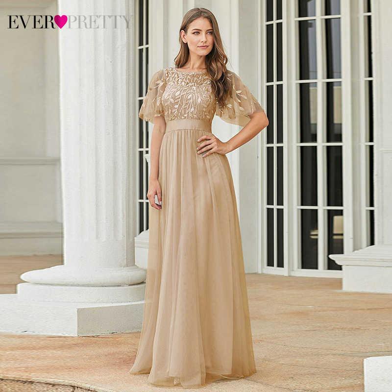 Étincelle robes De soirée longue jamais jolie a-ligne col rond manches courtes paillettes Tulle élégant robes De soirée Robe De soirée 2020