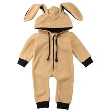 Baby Girls Boys Clothes 0-3T Cute Toddler Baby Soft Hooded One-piece Pajamas Rabbit Ear Hood Zip Up Comfy Nightwear(China)