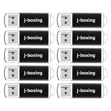 J boxing 10PCS 1GB USB Flash Drives Bulk 2GB Rectangle Thumb Drives 4GB 8GB USB Memory Stick 16GB 32GB Pendrive with Cap Black