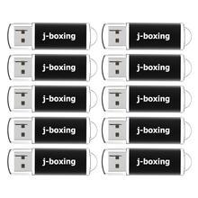 J boxing memoria USB con tapa, 10 Uds., 1GB, 2GB, 4GB, 8GB, lápiz de memoria USB, 16GB, 32GB, color negro