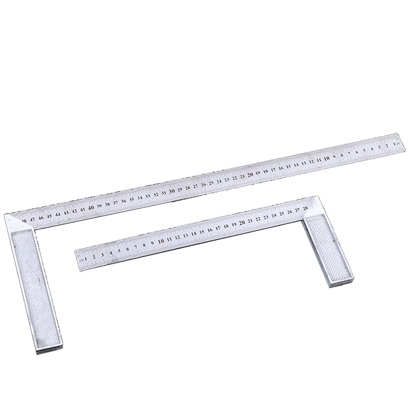 Junejour 90 Degree Try And  Square Ruler Aluminum Handle Measuring Angle Carpenters Square Ruler With Stainless Steel Scale