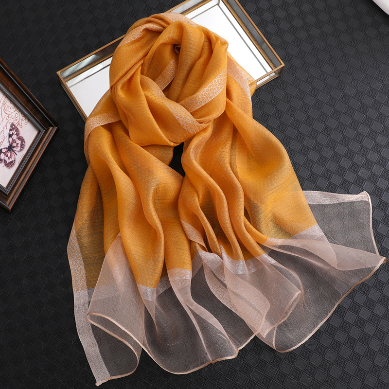 Image 2 - 100% Silk Scarf Womens Fashion Large Sunscreen Shawls Wraps Lightweight Striped Pattern Wool Wraps for WomanWomens Scarves   -