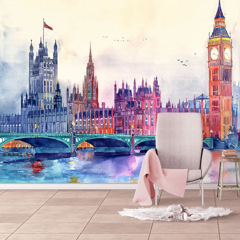 European Style Watercolor Wallpaper 3D City Building Murals Living Room TV Sofa Bedroom Home Decor Wall Painting Papel De Parede