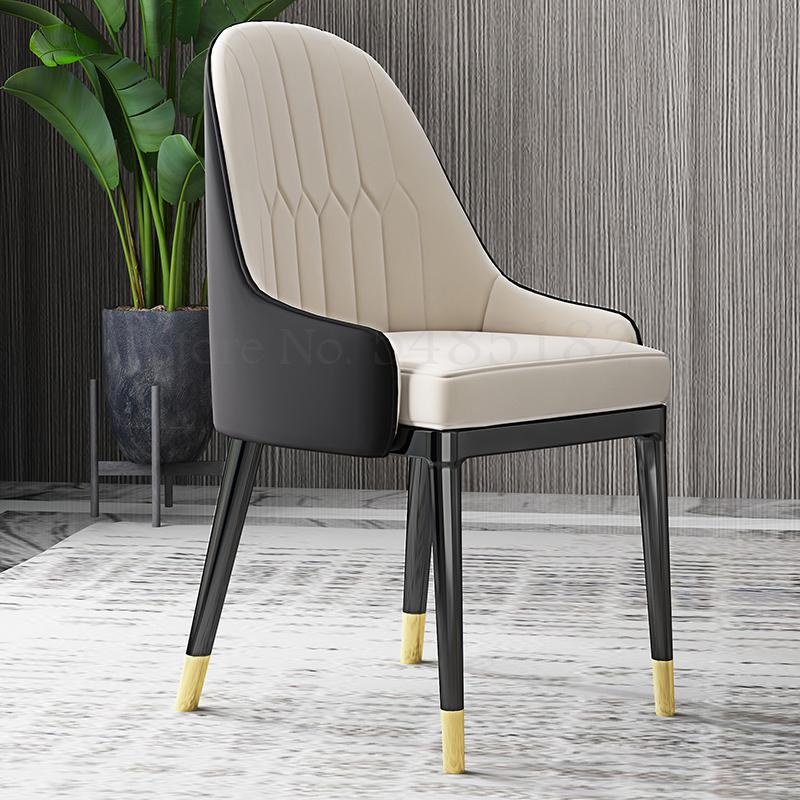 Nordic light luxury dining chair home post-modern minimalist restaurant chair stool hotel leather soft iron chair