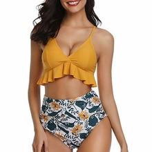 Купальный костюм, бикини, желтый купальник, женская одежда с оборками, высокая талия, бикини,, купальный костюм, купальный костюм, купальники, пуш-ап, комплект бикини