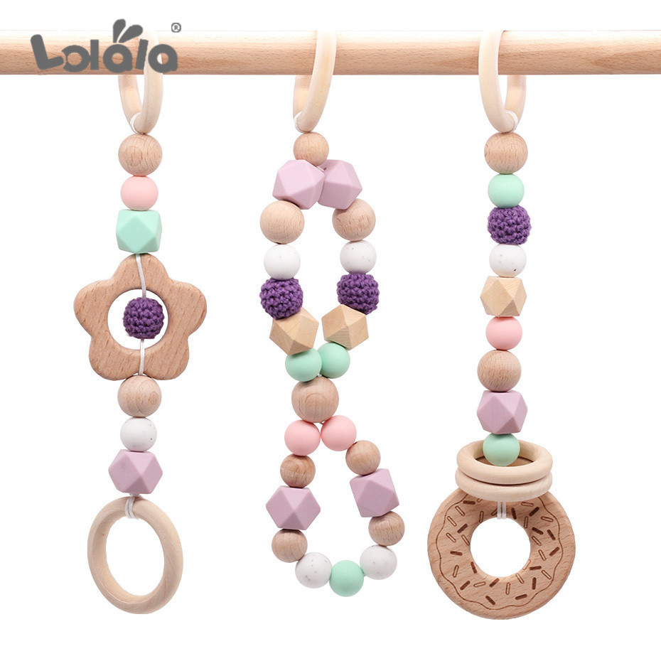 NEW Play Gym Accessorie 3pc Chew Baby Silicone Beads DIY Teether Jewelry Nursing Pendants Baby Toys Rattle Beech Wooden Teether