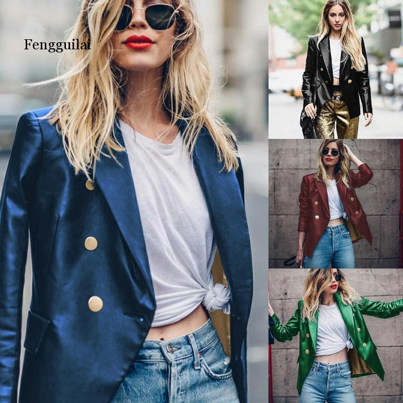 Leather PU Blazers Women Autumn Female Long Sleeve Buttons Casual Blazer Feminino Womens Blazers and Jackets