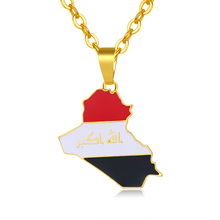 Republic Of Iraq Map Flag Pendant Necklace For Women/Men Gold Color Jewelry Maps Of Iraq Necklaces Bijoux Femme  gold chain afc asian cup 2019 yemen iraq