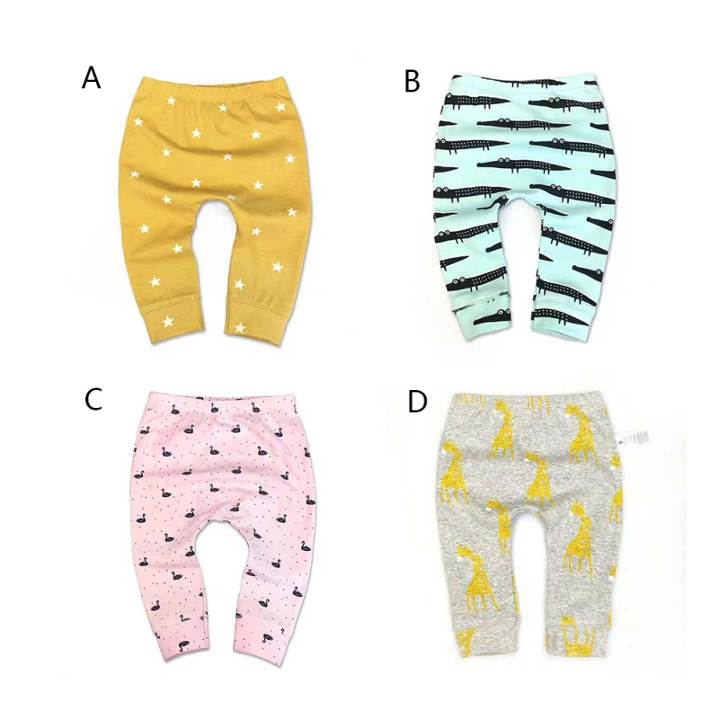 Autumn Cute Baby Pants Boys Girls Pants Children Trousers Cartoon Animal Pattern Bottoms