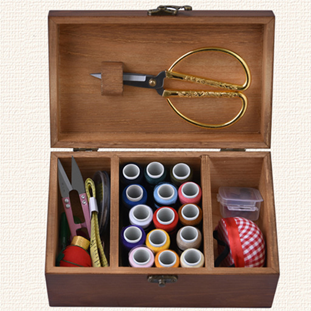 Wooden Basket DIY Sewing Box Gift Set with Sewing Tool Kit Accessories Storage Case Clothing DIY and sewing supplies storage O30