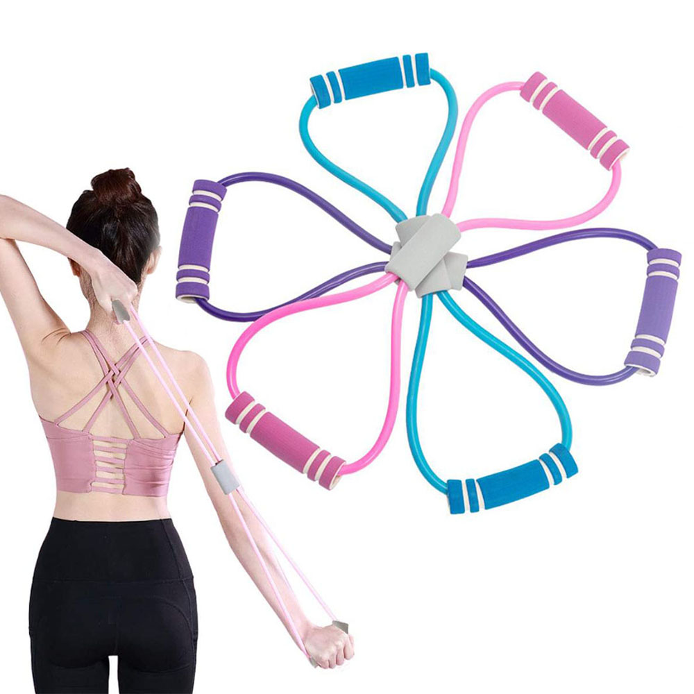 1pc Yoga Pulling Rope Elastic Rubber Tube Band Fitness Tension Belt 8 Shaped Chest Expander Gym Exercise Training Equipment