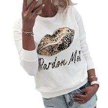 Women Pullover Sweatshirt Leopard Lips Print Sweatshirt sudadera mujer Casual Ladies Beaded Pullovers bluza damska streetwear white sexy lips print print crop sweatshirt