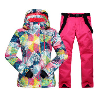 Women Ski Suit Winter Warm Waterproof Windproof Snow Jacket + Pants Outdoor Sports Snowboard for