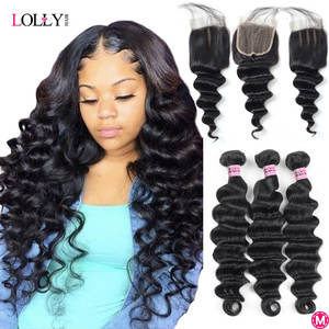 Loose Deep Wave Bundles with Closure Human Hair Bundles with Closure Brazilian Hair Weave Bundles with Closure Lolly Non-Remy