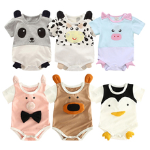 Jumpsuit Panda Baby-Boy-Girl Rompers Short-Sleeve Collar Newborn Toddlers Infant Cotton