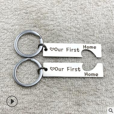 Our First Home Metal Keychain Heart Badge Personality Loving Celebtrated Jewelry Accessories Gift For Friends Families