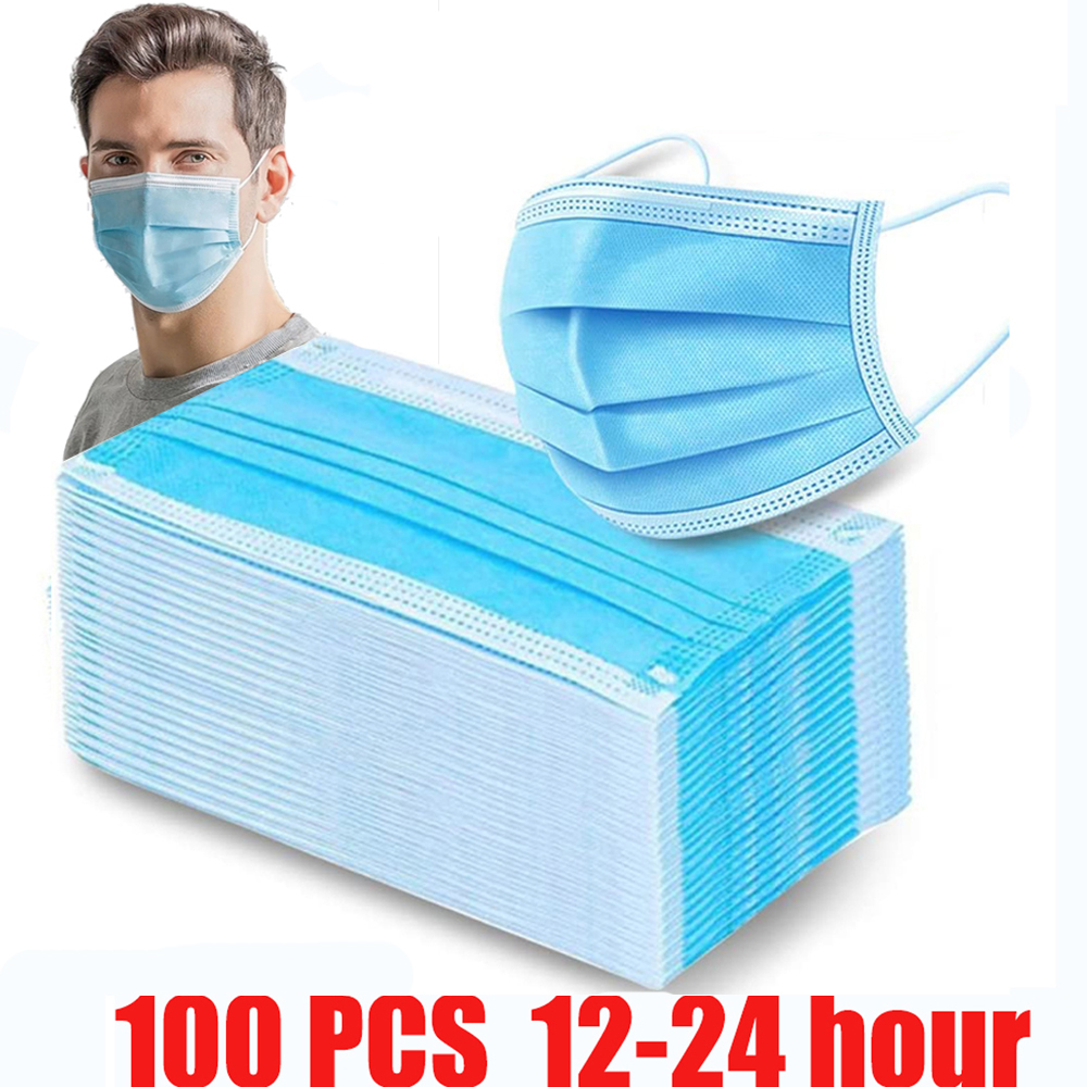100 Pcs Disposable Mask Face Mouth Anti Dust Protect 3 Layers Filter Earloop Non Woven Dustproof Mouth Mask 12-24 Hours Shipping