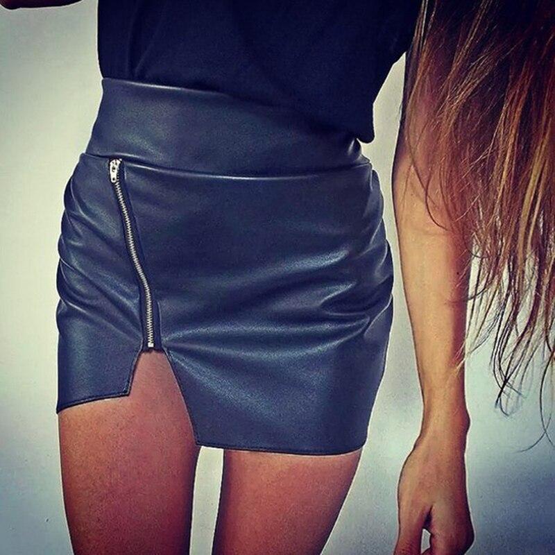Сексуальная Женская облегающая юбка, высокое качество, юбка из искусственной кожи, женская короткая мини-юбка, юбка с разрезом сбоку на