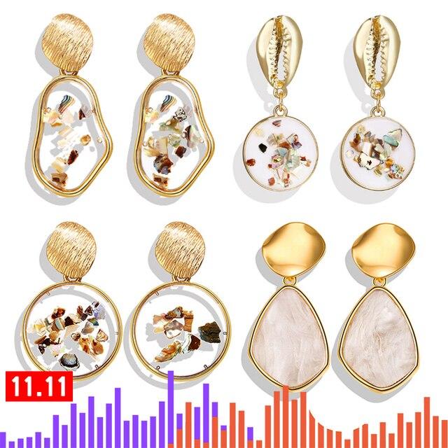 Vintage Earrings 2019 Geometric Shell Earrings For Women Girls BOHO Resin Drop Earrings Brincos Fashion Tortoise Jewelry 2