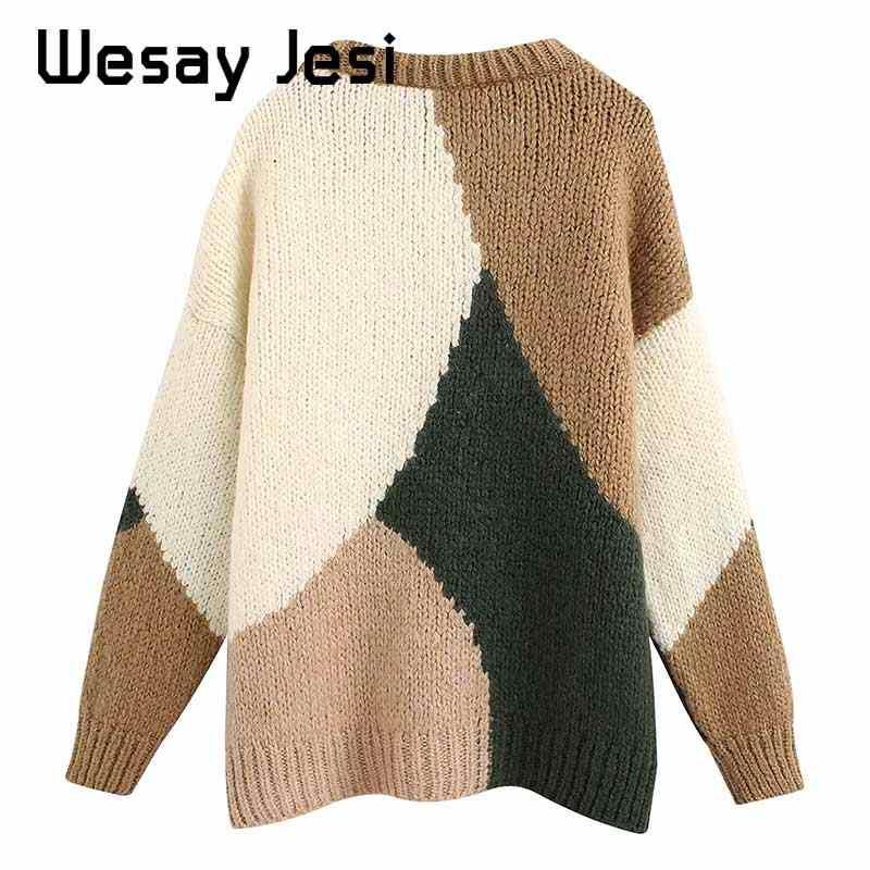 2019 여성 의류 가을 겨울 뜨개질 영국 빈티지 오-넥 따뜻한 스트리트 스웨터 streetwear 여성 풀오버 탑스