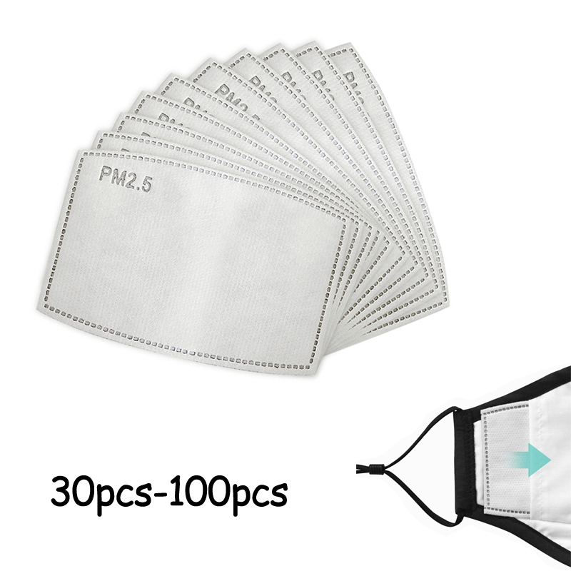 PM2.5 Activated Carbon Filter Paper 30-100pcs 5 Layers For Adult Children Kids Mouth Mask Anti Dust Masks Insert