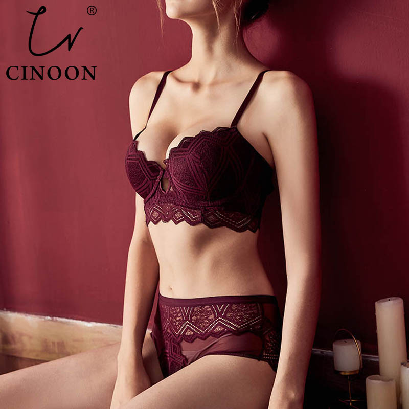 CINOON New Top Sexy Underwear Set Push-up Bra And Panty Sets Hollow Brassiere Gather Sexy Bra Embroidery Lace Lingerie Set