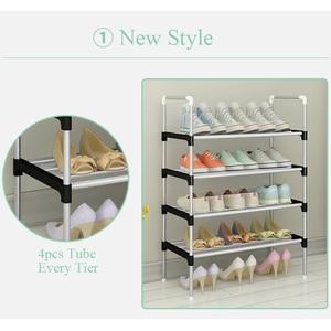 Image 2 - Range chaussures en métal facile à monter, étagère de rangement pour chaussures, baskets, support Portable peu encombrant, organiseur de chaussures avec main courante