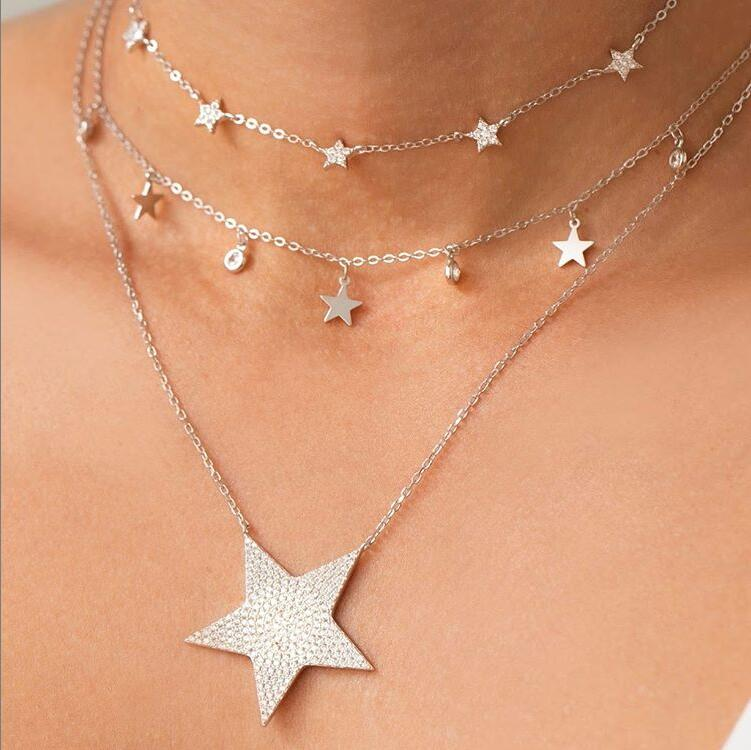 925 sterling silver Fashion Choker Necklace minimal cz Moon delicate Chain Gold silver Women elegant simple charm star Jewelry