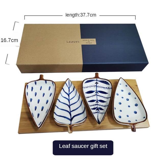 Creative Leaf Shape Seasoning Bowl Ceramic Multipurpose Small Plates Appetizers Snack Dish Sauce Kitchen Dishes Sushi Cake Tray 6